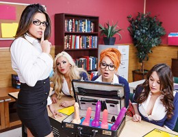 Danica Dillan is substitute teaching etiquette at a local all girl\'s private school, and she\'s come prepared. Rocking a suitcase full of dildos, Danica tries to teach those slutty schoolgirls the only real etiquette they\'ll ever need: dick sucking! But