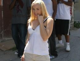 Blonde teen gets interracial gangbang