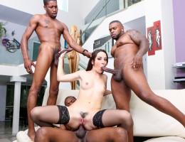 Marley Blaze getting three big black cocks simultaneously!