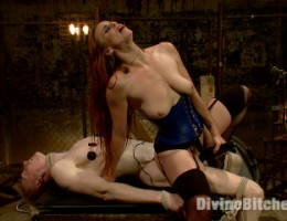 Mistress Bella Rossi electrifies her hard cock stallion and uses his electrified body and cock as a human dildo for her divine pussy.