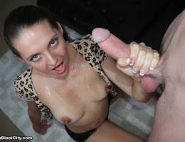 Brunette sexbomb Sadie milking big-sized cock of her step dad