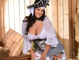 Playful Roxana in Pirate Costume Busts Out her 40D Hooters