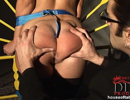 Hot bound babe Debbie White gets her round ass spanked red