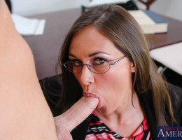Kris can\'t take his mind off of pussy but Professor Simone Riley is going to help him find some balance and teach him which head of his he needs to be thinking with. After some serious fucking and a few orgasms Mrs. Riley moves Kris to the head of the cl