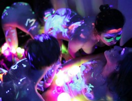 Glowpaints just took kinky girl group sex to another level!
