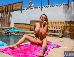 Nadia Styles is hanging out by her pool and notices her neighbor peeping on her. Instead of getting mad she gets horny and invites him over so she can drain his balls.