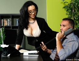 When Jayden Jaymes messed up the sales figures for an important client, her boss Keiran Lee covers for her, taking all the blame with Bill the bossman. Jayden feels terrible, so she thinks up a quick way to thank him for taking the fall for her: bending o