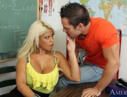 Busty blonde teacher Bridgette B fucks her worst student so he does not fail.