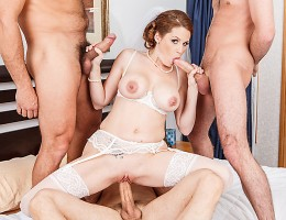 Allison has cold feet before her wedding. And she would most definitely love to warm them up with one last drop of warm cum. On the night before her wedding, Allison is in her hotel room across the hall from a bunch of rowdy dudes. Deciding it is her last