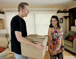 It\'s moving day and Charley Chase\'s husband has left her all alone with the moving man. After he\'s done bringing in the boxes, Charley decides to thank him for all his hard work by fucking him while watching her wedding night sex tape!