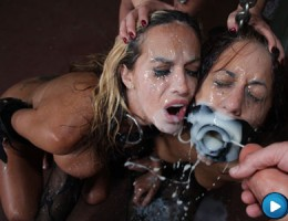 Kaylani gets jizzed on and covered with cum!