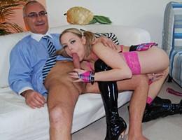 Slutty blonde bimbo gets dirty with a senior his stiffy cock
