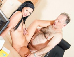 Teenage cutie receives a spunky load on her hairy pussy