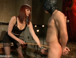 Maitresse Madeline milks slaveboy\'s prostate making him ooze milky white cum uncontrollably and without touching his cock!