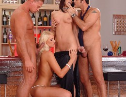 Gabriela & Marsha Lord Have Hot Hardcore Group Sex In A Bar
