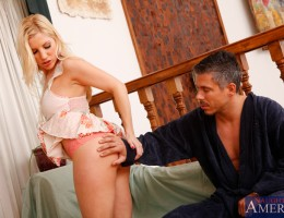 Hot blonde girl comes over and is horny for a good fucking from her neighbor.