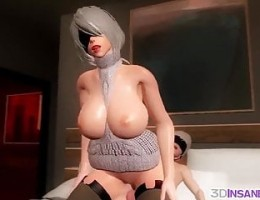 Big tits 3D babes raw pussy drilled