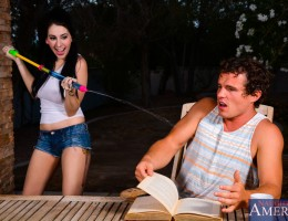 Luna decides it\'s a good idea to have a little water fight with her neighbor while he\'s busy studying. Needless to say her neighbor isn\'t amused by her antics. She offers to let him get her shirt wet in return. He accepts the offer and invi