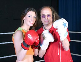Teenie girl fucking her old boxing champ idol in the ring