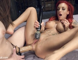 Celeste takes nearly the entire slink and then gets fucked in the ass with a huge strap on worn by the beautiful, Casey Calvert.