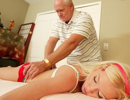 Young chick gets rub down from old man and more
