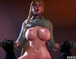 Hot busty 3D babes fucked in threesome hammering