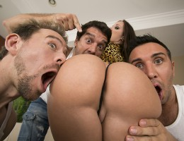 Jada Stevens is so horny that one or two cocks won\'t cut it. She\'s been craving sex all day and decides it\'s time to do something about it. This bouncy little hottie needs dick stuffed in every hole, and Erik, Keiran, and Ramon are just the men for the