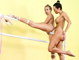 Two ballerina are doing some lesbian strap-on anal fucking