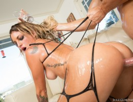 Kissa Sins Gets Lubed Up and Oiled for A Hard Cock