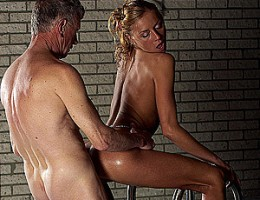 Horny old senior shagging a willing teenage pool beauty