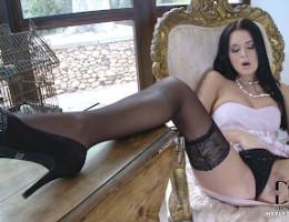 Mia Manarote Spreads Her Pink & Sniffs Her Sheer Stockings