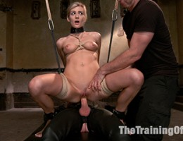 Blond pussy slave earns her hard fuck on the final day of training.
