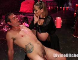Pregnant fertility goddess makes slaveboy worship her full belly, milk filled tits and dripping wet horny pussy and asshole.