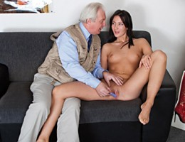Sexy and hot brunette loves to munch on old guys big cock
