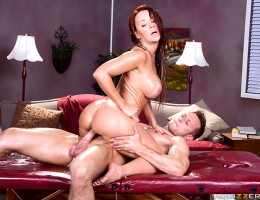 For mothers day this year, all busty MILF Janet Mason really wanted was a little peace and quiet. But when her family surprises her with a massage, she decides to make the best out of a bad situation. Her masseur, Bill Bailey, starts her off slowly with