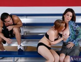 Raquel Devine & Dani Jensen have hot sex with one guy in school gym.
