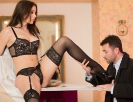 Sensual Lana Rhodes in lingerie dreams of being fucked