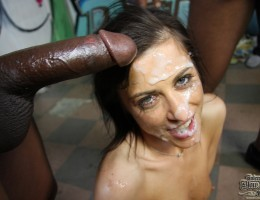 French slut gags and chokes on a lineup of black cocks