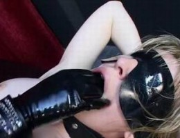 blonde babe gets strapon fucked by latex mistress and cummed by masked dude
